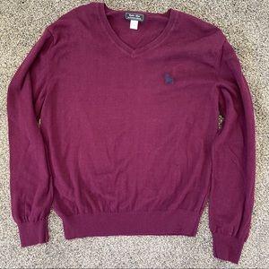 Blade + Blue Purple Cotton V Neck Sweater Size L